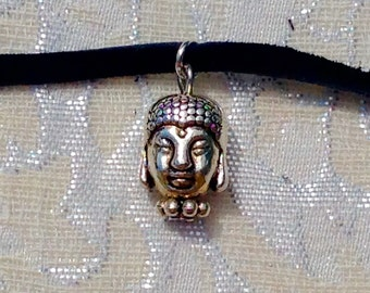 Black genuine leather buddah choker necklace