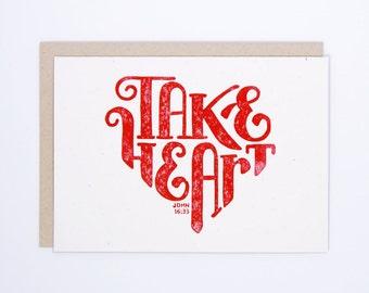 John 16:33 | Block Printed Card | Handmade Greeting Card | Hand Lettering | Linocut | Encouragement