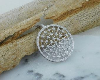 Vintage Looking White Gold Circular Diamond Pendant