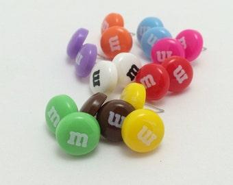 Letter M Resin Cabochon Stud Earrings Candy Earrings