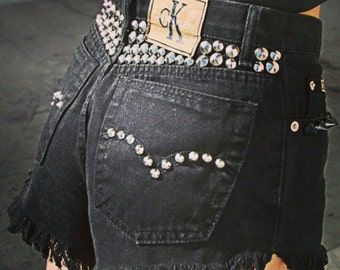 Vintage Calvin Klein CK jeans denim shorts cut offs high waisted waist daisy dukes studded spikes embellished frayed black