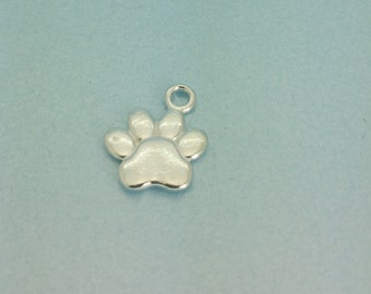 Sterling Silver Paw Charm. 925 Sterling Silver Dog Paw Pendant. Perfect for Dog Lovers. Available in quantities of 1, 5, or 10.