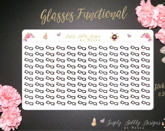 Glasses Functional Icons - 120 individual planner stickers