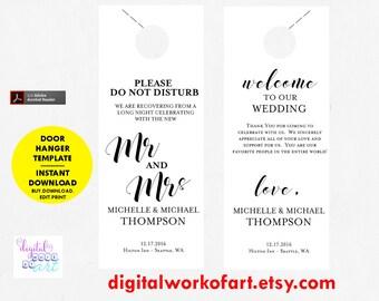 Wedding Door Hanger Template, Door Hanger Printable, Please Do Not Disturb Door Hanger, Wedding Favor, Instant Download, Wedding Printable