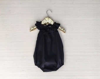 Black backless ruffle romper