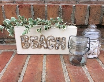 Rustic Wooden Beach Sign