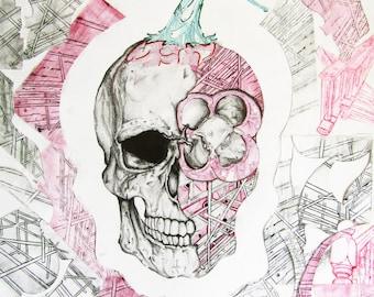 STRCTRE - Surrealism Skull Art Print