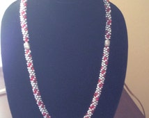 Red and Silver Kumihimo Necklace