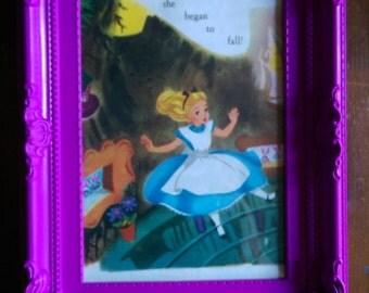 Vintage Alice in Wonderland print in bright pink frame