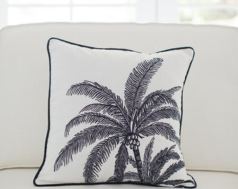 Palm Tree Cushion Cover - Ink Navy