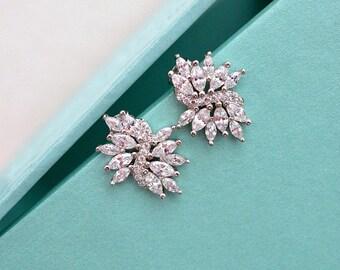 Cubic Zirconia Stud Earrings, Crystal Stud Bridal Earrings, Flower Crystal Earrings, CZ Wedding Earrings, CZ Bridal Jewelry, Bridesmaid Gift