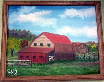 The Old Barn framed oil painting