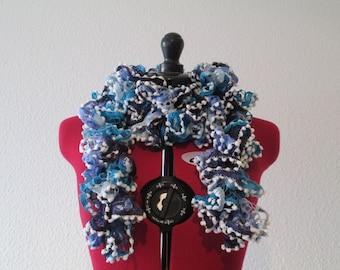 Blue ruffle scarf with pom poms / ruffle scarf
