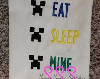 Inspired Minecraft Creeper Eat Sleep Mine machine embroidery design