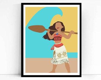 Moana Poster, Minimalist Disney Print