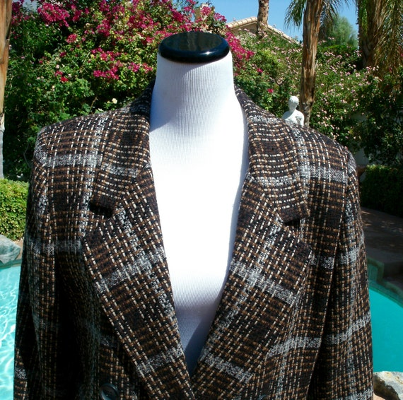 Vintage 80s Oleg Cassini Wool Plaid Blazer/Jacket Sz 14
