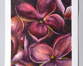 Signed Original Watercolor – Lilac Flower Petals