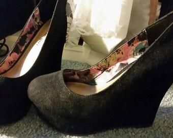 Suede Solid Black Wedge Heels