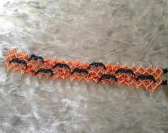 Hand made peyote flying bats bracelet