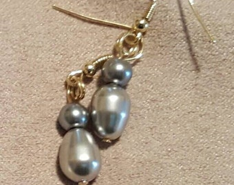 Grey pearls with silver bead earrings