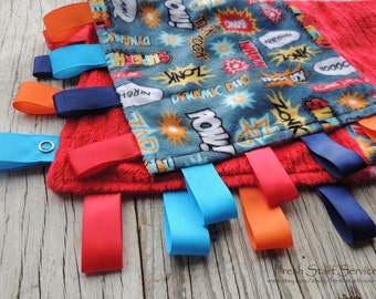 SuperHero Blanket, Ribbon Sensory Blanket, Minky Blanket, Taggie, Lovey