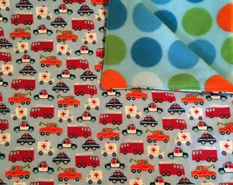 Fleece and Flannel Receiving Blanket, Baby Boy Blanket, Truck Blanket,