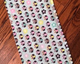 Baby Girl Burp Cloth, Owl Burp Cloth, Mint Green Burp Cloth, Burp Rag, Owl Nursary, Owl Baby Decor