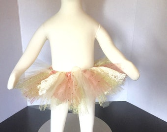Champagne, Lace, Gold, & Peach/Blush Tutu