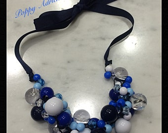 Funky, Blue, Beaded Necklace