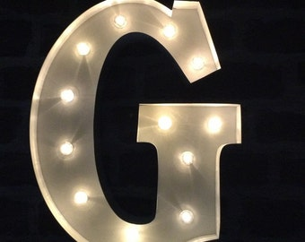LED Carnival Circus Light Up Alphabet Letter G - All Metal Large 33 cm Wall or Free Standing