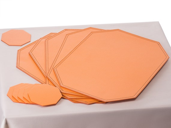 Placemats orange table mats and coasters placemats set for Table mats design your own
