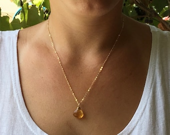 Citrine gold Necklace, Citrine Pendant, November birthstone necklace, Pendant Necklace, Citrine Goldfilld necklace, Yellow pendant ,Citrine,