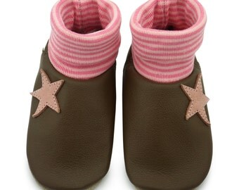 Baby shoes, leather sock Star Pink LS12