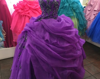 Purlple organza gown