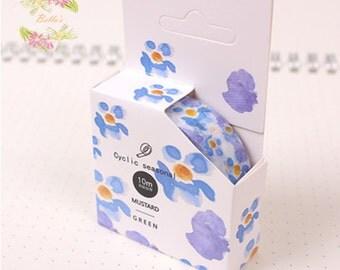 Blue Floral Washi Tape