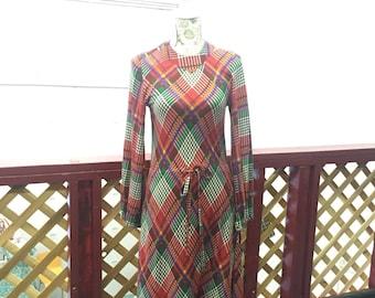 Vintage 1970s Plaid Dress