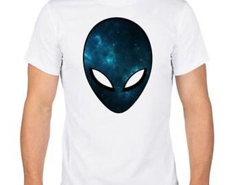 Men's T-Shirt. Cotton T-Shirt. Screen Printed Shirt. 3D T shirt. White T-shirt. Print alien.