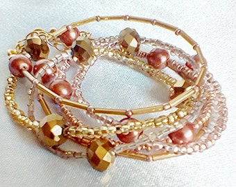 wrap cuff bracelet in gold champagne and copper tones beaded bracelet cuff bracelet warm tones