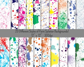 20 Different Paint Splatter Backgrounds!