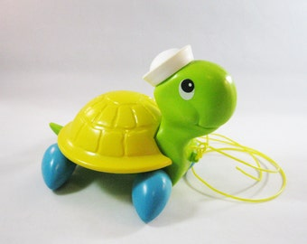 Vintage Turtle Pull Toy, Fisher-Price 1977