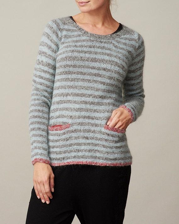 Striped raglan pullover sweater PDF knitting pattern / womens wool sweat...