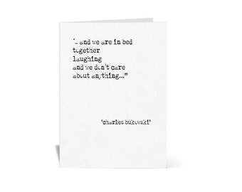 """Greeting Card Bukowski  """"In Bed Together"""""""