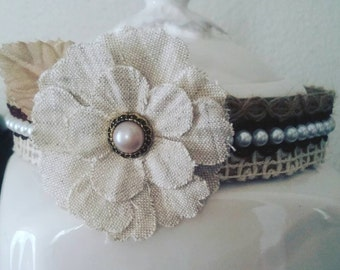 Vintage baby headband with a touch of elegant pearls