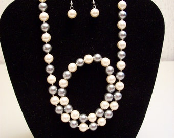 Grey and Peach Shell Pearl Set