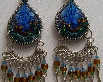Green, Brown, & Blue Glass Bead Earrings,Silver-finished Steel,Brass,Earrings,Jewelry,Gifts for Her, Gift Ideas,Dangle,Drop,Nylon,Gifts,