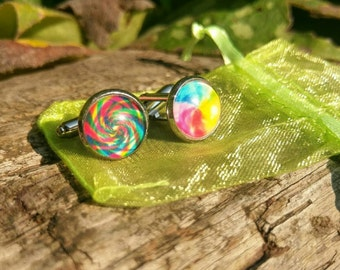 Multicolour swirl cufflinks, 12mm face, handmade.