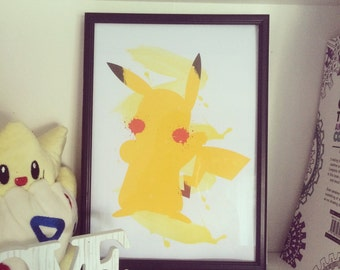 Pikachu Pokemon -  Watercolour Print