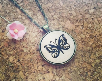 Flying butterfly - necklace, wood type, butterfly, lightness, love for animals