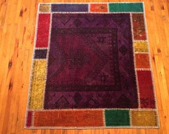 Patchwork Vintage Rug ,Turkish Handmade Carpet