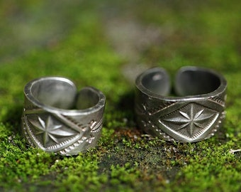 Silver Engraved Band Ring | Silver Engraved Ring | Native American Inspired Ring | Tribal Ring | Adjustable Silver Band Ring | Band Ring Men